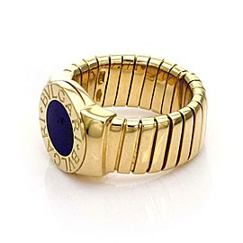 Bvlgari Bulgari Lapis Circle Tubogas 18k Yellow Band Gold Ring Size 5.5