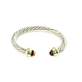 David Yurman Citrine Sterling 14k Yellow Gold 7mm Cable Cuff Bracelet