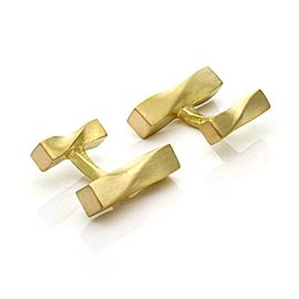 Angela Cummings Vintage 18k Yellow Gold Twisted Posts Stud Cufflinks