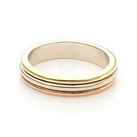 Cartier 18k Tricolor Gold 4mm Wide Triple Stack Band Ring Size 50-US 5.25