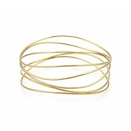 Tiffany & Co. Peretti 18k Yellow Gold 5 Rows Wave Wire Bangle Bracelet