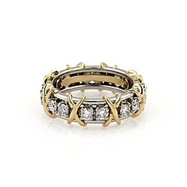 Tiffany & Co. Schlumberger 16 Diamond Platinum 18k Gold X Ring Size 5