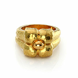 Tiffany & Co. Picasso 18k Yellow Gold Hammered Design Flower Ring Size 7
