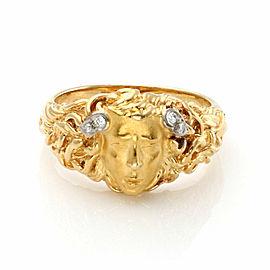 Carrera y Carrera Medusa Diamond 18k Gold Face Ring Size 6.25