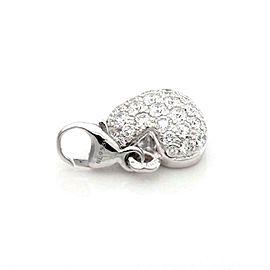 Cartier Pave Diamond 18k White Gold Heart Charm Pendant