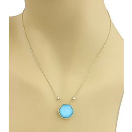Stephen Webster Deco Diamond Blue Quartz 18k Gold Octagon Pendant Necklace