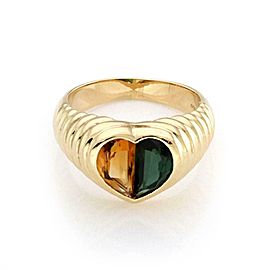 Bulgari Citrine & Tourmaline 18k Yellow Gold Heart Band Ring Size 7
