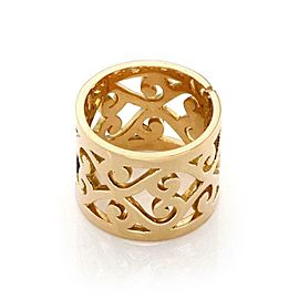 Hermes Paris 18k Yellow Gold 15.5mm Wide Open Scroll Design Band Ring Size 6.25