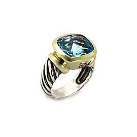David Yurman Nobelesse Blue Topaz Sterling 14k Yellow Gold Cable Ring Size 6.25