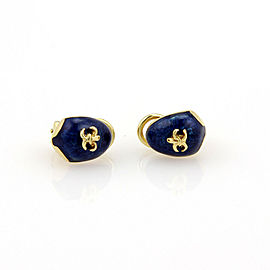 Hidalgo 18k Yellow Gold Guilloche Enamel Fleur de Lis Clip On Earrings