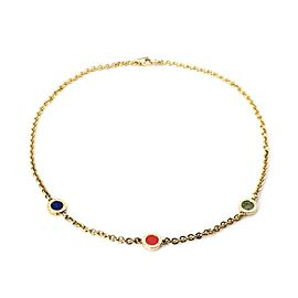 Bulgari Lapis Jade & Coral 18k Yellow Gold 3 Circle Station Chain Necklace