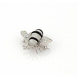 Diamond Onyx 18k White Gold Bumble Bee Brooch Pin