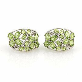 Estate Peridot & Diamonds 14k White Gold Wide Curve Earrings