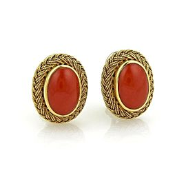 Estate Coral Oval Cabochon Weave 18k Yellow Gold Earrings