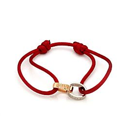 Cartier Love 18k Two Tone Gold Oval Mini Ring Charm Red Cord Bracelet