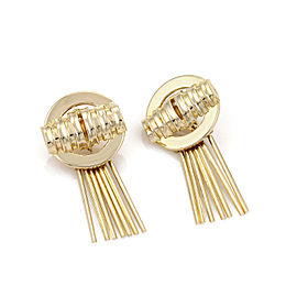 Retro 14k Yellow Gold Fancy Circle Straw Sticks Dangle Earrings