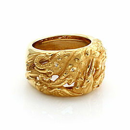 Carrera y Carrera Diamond Animal 14mm Wide 18k Yellow Gold Band Ring