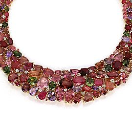 Estate 240 Carats Tourmaline & Sapphire 18k Gold Graduated Collar Necklace