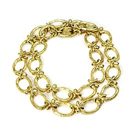 """14k Yellow Gold Oval Bamboo Links Long Necklace 30.5"""" Long"""