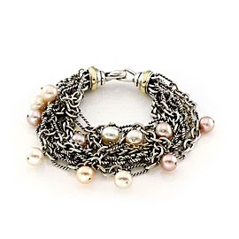 David Yurman Pink Pearls 925 Silver & 18k Yellow Gold Multi-Chain Bracelet