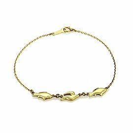 Mikimoto 18k Yellow Gold 3 Fish Charm Chain Bracelet