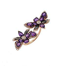 Diamond & Amethyst 14k Rose Gold Double Butterfly Open Top Ring