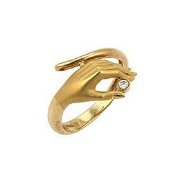 Carrera y Carrera Diamond 18k Yellow Gold Detailed Hand Ring