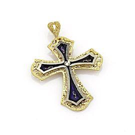 Vintage Diamond & Enamel 18k Two Tone Gold Cross Pendant