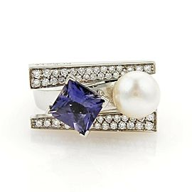 Koesia 2.42ct Iolite Pearl & Diamond 18k White Gold Ring