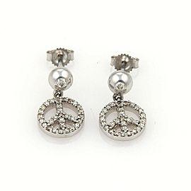 Diamond Peace Sign Dangle 14k White Gold Earrings
