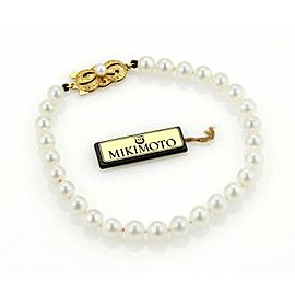 Mikimoto Akoya 18k Gold Single Strand Cultured Pearls Bracelet