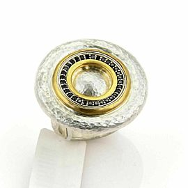 Gurhan Moon Beam Sterling & 24k Gold Black Diamonds Ring Size 6.5