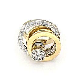 Designer 18k Two Tone Gold Diamond Triple Circle Spinner Top Ring Size 7.5