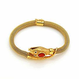 Estate 18k Yellow Gold Coral Snake Mesh Tube Flex Bracelet