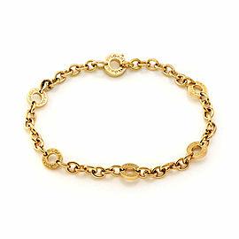 Bvlgari 18k Yellow Gold 6 Engraved Circle Link Chain Bracelet
