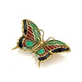 Estate Emerald & Enamel Butterfly 18k Yellow Gold Brooch Pendant