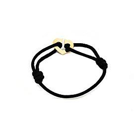 Cartier C Hearts 18k Pink Gold Heart Charm Black Cord Bracelet