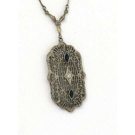 Art Deco Diamond Sapphire 14k White Gold Filigree Long Pendant