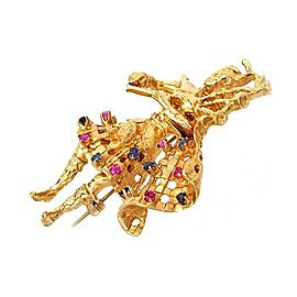 Estate Sapphire & Ruby 14k Yellow Gold Bagpipe Musician Brooch