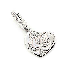 Chanel Diamond Pink Enamel 18k Gold Camellia Flower Heart Pendant/Charm