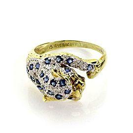 Estate Sapphire & Diamond 14k Yellow Gold Panther Ring Size 6.5