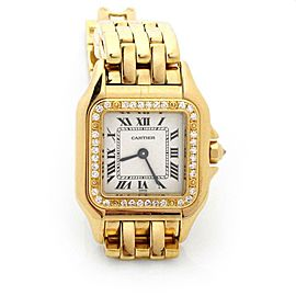 Cartier Panthere Diamond Bezel 18k Yellow Gold Square Ladies Watch 12802