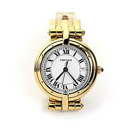 Cartier Panthere Round 18k Yellow Gold Date Sapphire Crystal Wrist Watch Quartz