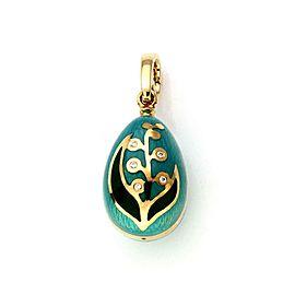 Faberge Diamond Guilloche Enamel 18k YGold Egg Charm Pendant