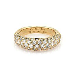 Cartier Étincelle Diamond 18k Yellow Gold Band Ring Size 52 w/Cert