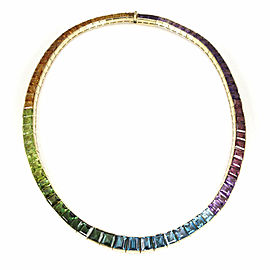 H. Stern Rainbow Multi-Color Gemstones 18k Yellow Gold Collar Necklace