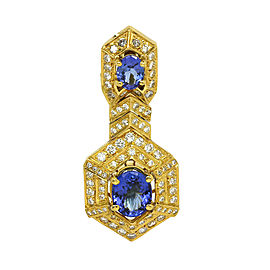 Estate 7.45ct Diamond & Tanzanite 18k Yellow Gold Long Pendant