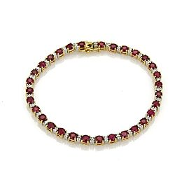 18k Two Tone Gold 7.2ct Ruby & Diamond Tennis Bracelet