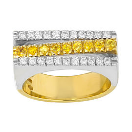 Salvini 18K Yellow & White Gold Diamonds & Yellow Sapphire Cocktail Ring Size 7