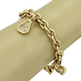 Chopard Happy Diamond 4 Charms Oval 18k Yellow Gold Chain Bracelet